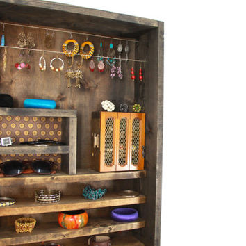 Rustic wall mounted wooden jewelry Organizer
