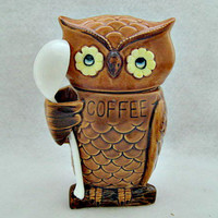 Owl Vintage Coffee Jar Cannister  Never Used in by vintagejunque