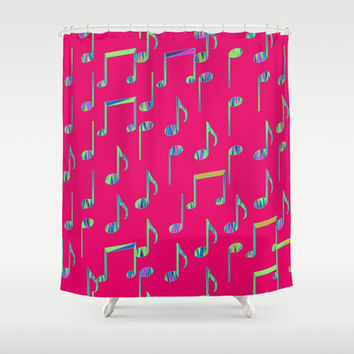 Music Notes on Bright Pink Shower Curtain by pugmom4