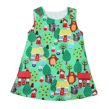 Cartoon Dresses girl summer Toddler Baby Infant Girls Woodlands Cartoon Princess Dress