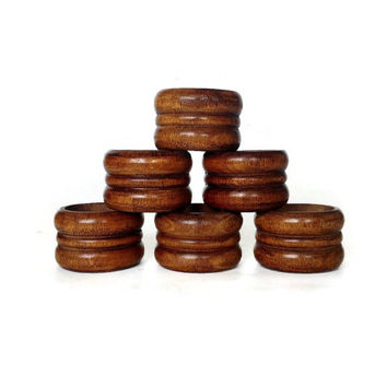 Wood Napkin Rings, Retro Dining, Set of Six