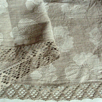 "Linen Tablecloth Natural White Gray flowers Linen Lace 98"" x 58"""