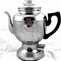 "Teapot Coffee Vintage 12"" Stainless Infuser Kettle Pot Antique Steel Strainer"