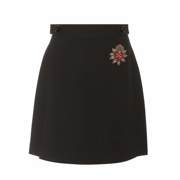 Embroidered wool miniskirt