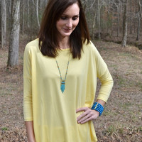 PIKO 3/4 Length Sleeve Top In Yellow