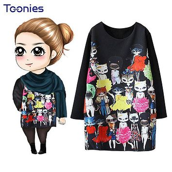 Women Spring Dress 2017 New Fashion Black Cute Cartoon Cat Printed Long Sleeved Dresses Straight Dress Plus Size L-4XL Vestidos