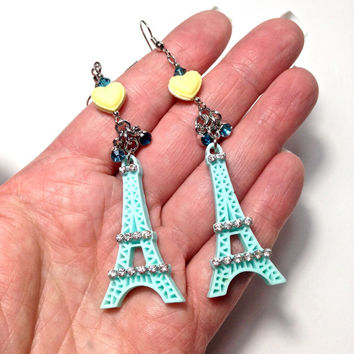 Eiffel tower earrings, Eiffel Tower jewelry, French gift, Paris Jewelry, macaron earrings, macaron jewelry, Pastel earrings