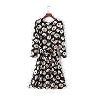 Sun Flower Print Three Quarter Length Sleeve Bow Waist Tie Skater Dress