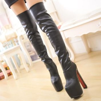On Sale Hot Deal Club Round-toe High Heel Waterproof Boots [11203293959]