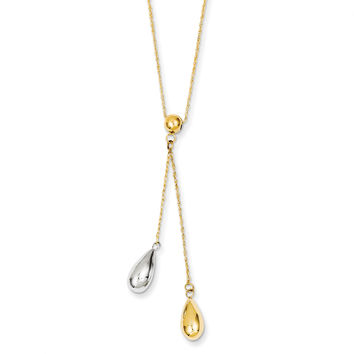 14k Yellow and White Gold Teardrop Puff Lariat Necklace SF1892