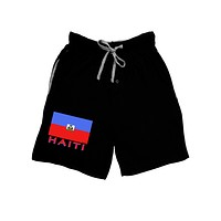 Haiti Flag Dark Adult Lounge Shorts