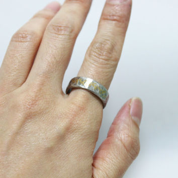 Sterling Silver 24K Keum-boo Ring/ Silver Band Ring/ Hammered Silver Ring/ Rustic Silver Ring/ Keum-Boo Ring/ Engagement Ring