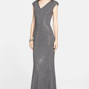 Women's St. John Collection Embellished Milano Knit V-Neck Gown,