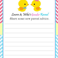 Waddle It Be Gender Reveal Baby Shower Advice Cards