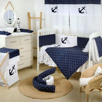Navy Anchor Patch Nautical Embroidered Crib Collection Crib Bedding Set