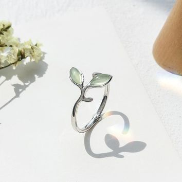 S925 Sterling Silver Open Rings For Women Shoots Cat's Eye Stone Forest Style Leaf Ring Literature Small Fresh Fine Jewelry
