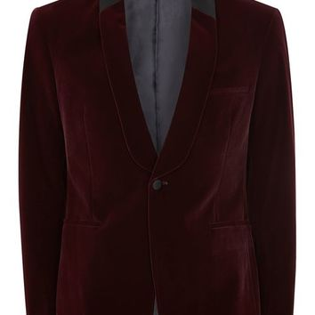 Burgundy Velvet Skinny Tuxedo Jacket - New Arrivals - New In