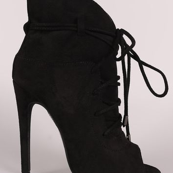 Suede Strappy Lace-Up Peep Toe Stiletto Booties