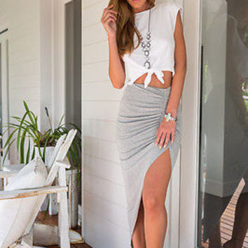 High Waist Open Mini Skirt