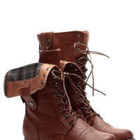 Plaid It Up Whiskey Fold Over Faux Leather Combat Boots