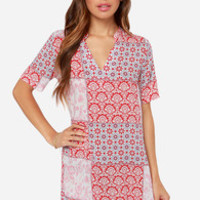 White Crow Cheyenne Red Print Dress