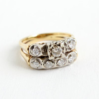 Antique 14K Yellow & White Gold Diamond Engagement Ring and Wedding Band Set- Vintage Size 8 Art Deco Fine Jewelry