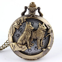 Bronze Wolf Hollow Quartz Pocket Watch / Necklace Pendant