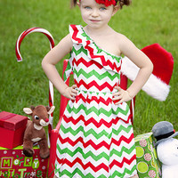 One Shoulder Chevron Dress Red & Green
