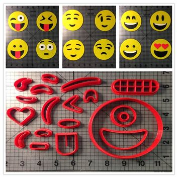 Different Kinds Of Circle Face Emoji Fondant Cookie Cutter Cupcake Top Made 3D Printed Cookie Cutter Set Cake Decorating Tools