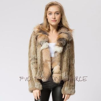 Cozy Chic Knitted Fur with Beautiful Fox Collar Thick warm Jacket