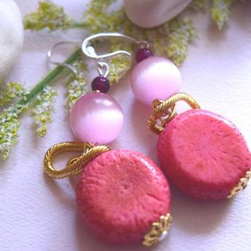 Natural Coral and  Pink Cat Eye 925 Sterling Silver hook earrings with gold plated rings handmade