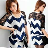 Women See through Lace Batwing Sawtooth Stripes Knitting Knit Tops T-shirt