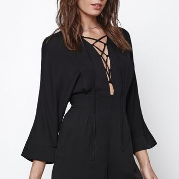 Lace-Up 3/4 Sleeve Romper