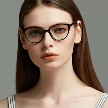 156dabbb16 Cat Eye Glasses Ladies Vintage Clear Lens Eyewear Sexy Women Tra