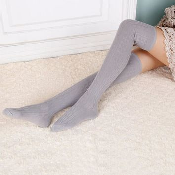 Woman Wool Braid Over Knee Socks Thigh Highs Hose Stockings Twist Warm Winter