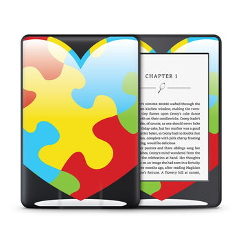 Autism Puzzle Pieces In Heart Shape Skin for the Amazon Kindle Tablet