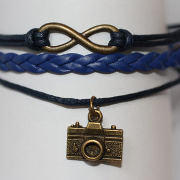 OPEN~ Handmade Infinity Camera Charm Blue Leather Wedding Photographer Gift Multilayer Handcrafted Bracelet ilovecheesygrits