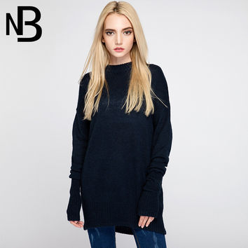 Fall Fashion Knit Round-neck Long Sleeve Slim Tops Blouse [6446691844]