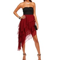 BlackWine Strapless Asymmetrical Dress