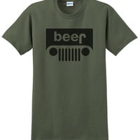 JEEP BEER! Fun Funny T-Shirt Drink Party ~ 17 COLORS to choose from ~ Print-To-Order! mens b7