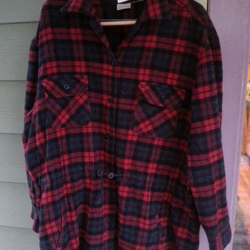 Vintage 90s Grunge Wool Plaid Flannel Toggle Tunic Parka Jacket Shirt Size  XL