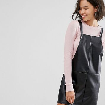 Pull&Bear Faux Leather Overall Dress at asos.com