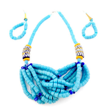 light blue glass bead necklace and earring set made in Ghana fair trade African jewelry unique fashion accessories gifts for women mom