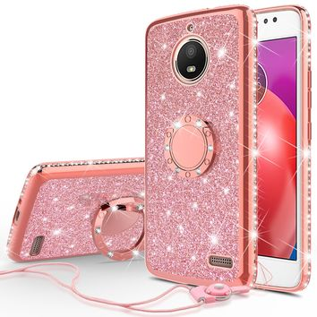 Motorola Moto E4 Case, Glitter Cute Phone Case Girls with Kickstand,Bling Diamond Rhinestone Bumper Ring Stand Sparkly Luxury Clear Thin Soft Protective Motorola Moto E4 Case for Girl Women - Rose Gold
