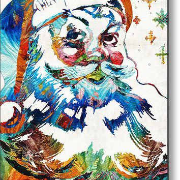 Colorful Santa Art By Sharon Cummings Metal Print