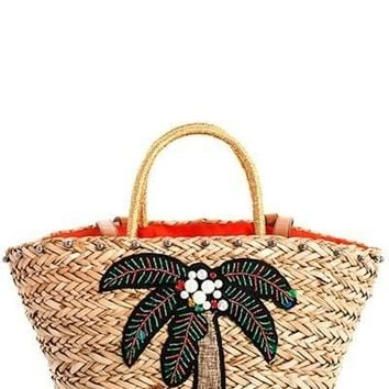 Nicole Lee Coconut Natural Straw Woven Shopper Bag