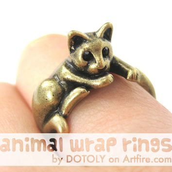 Kitty Cat Relaxing Animal Wrap Around Ring in Brass - Sizes 4 to 9 Available