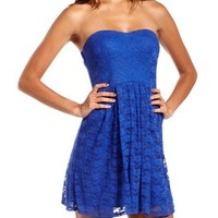 Floral Lace Tube Dress: Charlotte Russe
