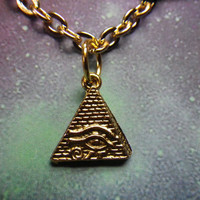Gold Pyramid Eye of Ra necklace