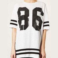 Number 86 Print Striped Short Sleeve Graphic T-Shirt